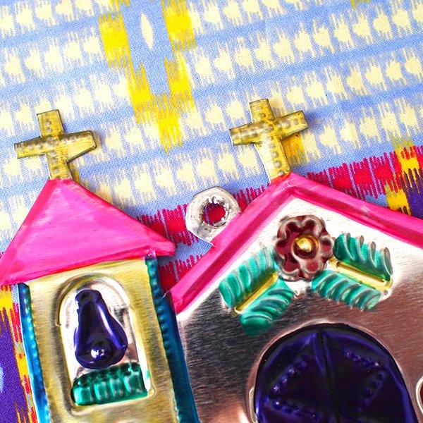 メキシコ ブリキオーナメント(教会)【画像5】