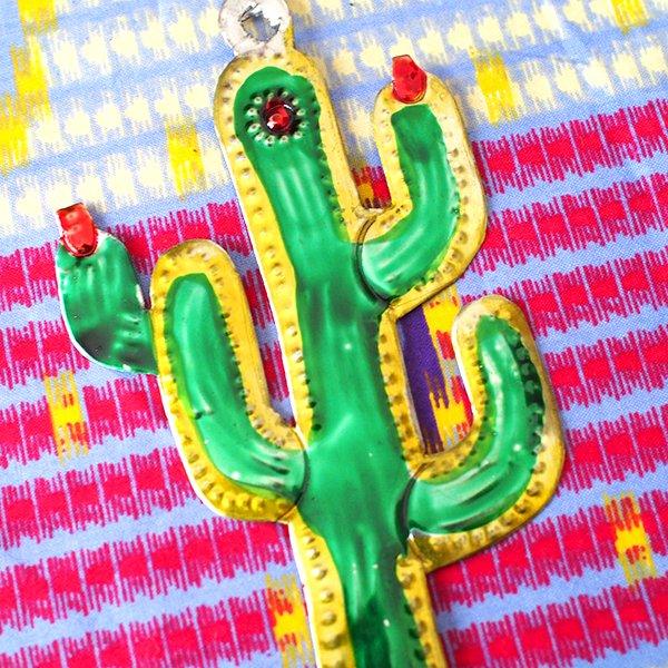 メキシコ ブリキのオーナメント(サボテン)【画像4】
