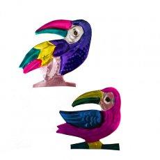 ピンク 雑貨 メキシコ ブリキのオーナメントマグネット(オオハシ)