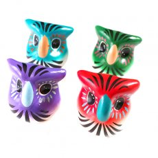 フクロウ メキシコ カラフルなミミズクの置物(4色)