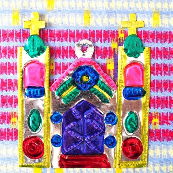 メキシコ ブリキオーナメント(教会)【画像2】
