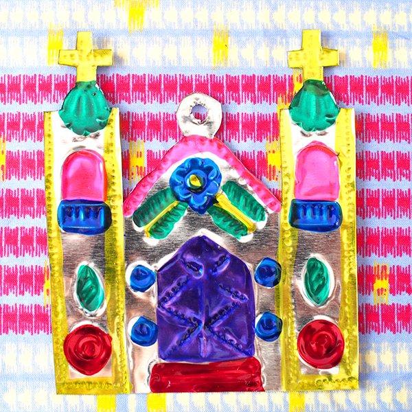 メキシコ ブリキオーナメント(教会)【画像3】