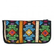 グアテマラ ウィピル刺繍 グアテマラ  ウィピル 刺繍 メガネケース 紐付き(ブラック)