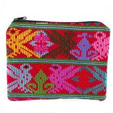 グアテマラ 雑貨 グアテマラ ウィピル 鳥刺繍 ポーチ(レッド)