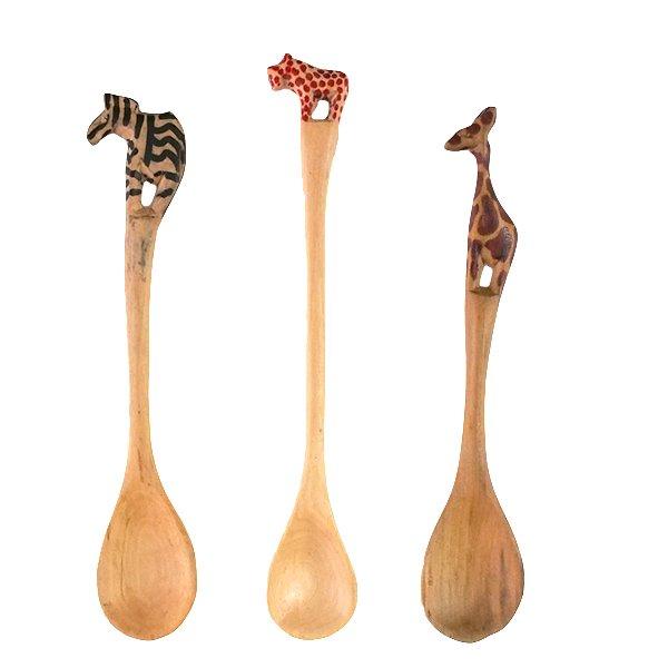 ケニア  木製 スプーン(キリン・サイ)【画像2】