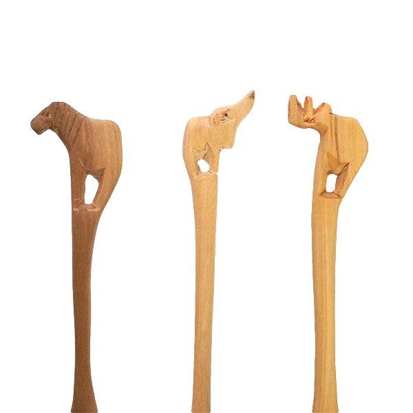 ケニア  木製 アニマルスプーン (シマウマ・ヒョウ・キリン・ゾウ・ライオン・サイ)【画像5】