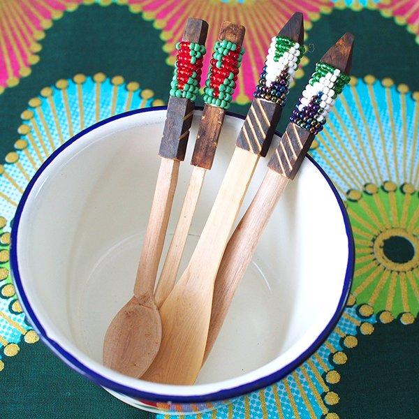 南アフリカ デベレビーズ 木製 フォーク スプーンセット【画像7】