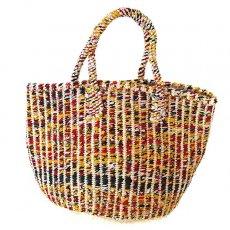 サイザル・カゴバッグ ケニア サイザルとカンガ 裂き織り バッグ(レッド カゴバッグ)