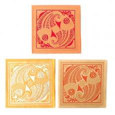 赤・レッド 雑貨 インド chimanlals(チマンラール)魚 メッセージカード(封筒付き)