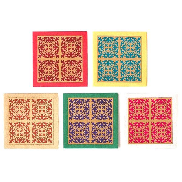 インド  chimanlals (チマンラール)メッセージカード KIRTI 模様(5色 封筒付き)