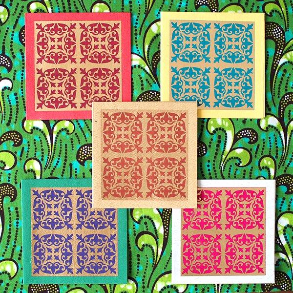 インド  chimanlals (チマンラール)メッセージカード KIRTI 模様(5色 封筒付き)【画像2】