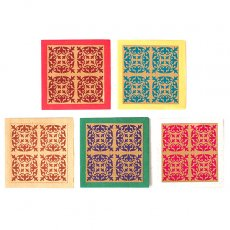 赤・レッド 雑貨 インド  chimanlals (チマンラール) ミニメッセージカード(模様 5色 封筒付き)