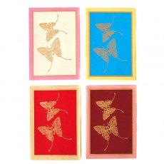 赤・レッド 雑貨 インド chimanlals(チマンラール)バタフライ ミニメッセージカード(封筒付き)