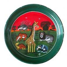 ゾウ(象) 雑貨 タンザニア ティンガティンガ スチール丸トレイ(グリーン)