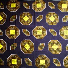 アフリカン プリント布 キテンゲ 105×100 カットオフ(タイトル不明 ドーナツ型)