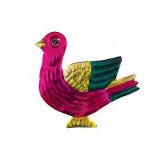 メキシコ ブリキのオーナメントマグネット(トリ ピンク)