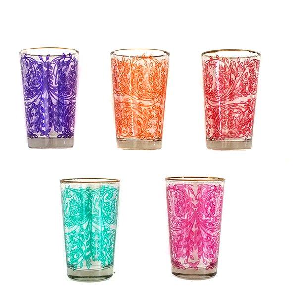 モロッコ カラフルなプリントグラス(植物柄)