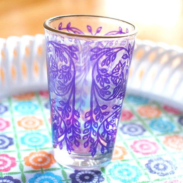 モロッコ 植物柄 プリントグラス【画像2】