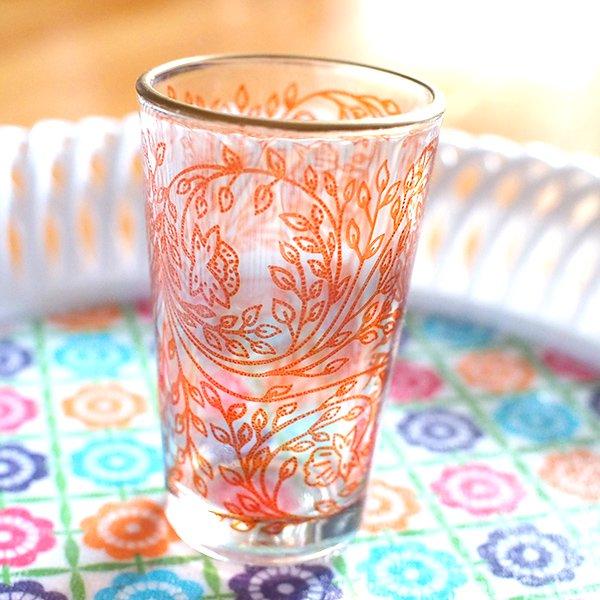 モロッコ 植物柄 プリントグラス【画像3】