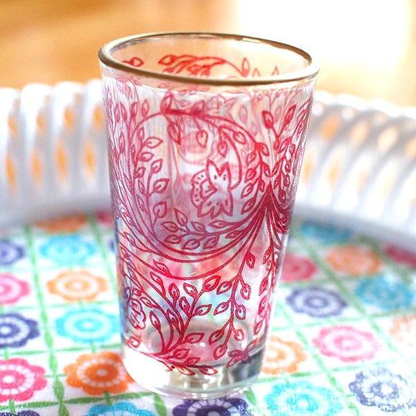モロッコ 植物柄 プリントグラス【画像4】