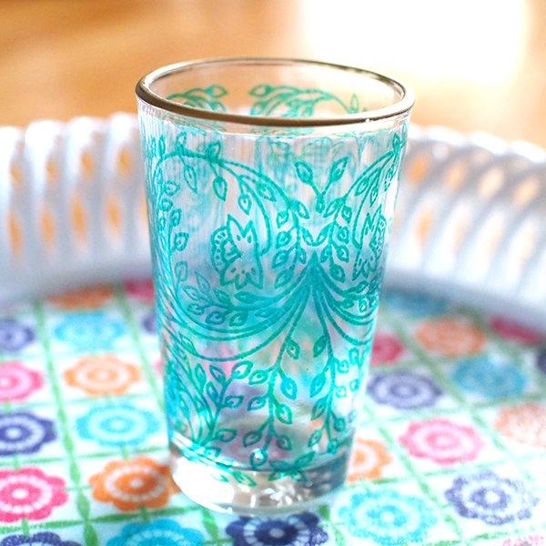 モロッコ 植物柄 プリントグラス【画像5】