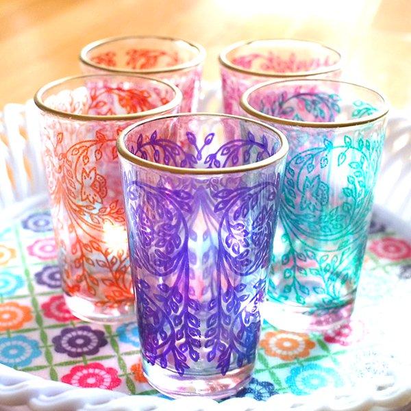 モロッコ 植物柄 プリントグラス【画像7】