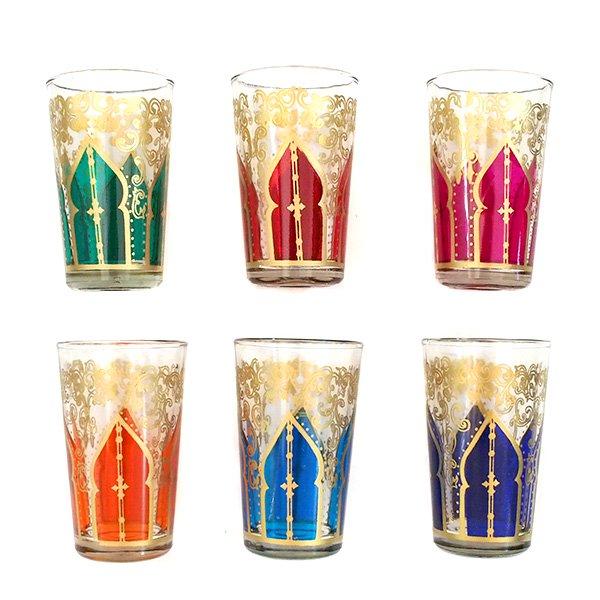 モロッコ カラフルなプリントグラス(モスク 唐草)