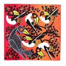 赤・レッド 雑貨 ティンガティンガ・アート 15×15(トリ2 )