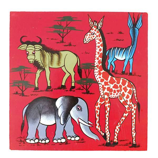 ティンガティンガ・アート 30×30(ゾウとキリン)