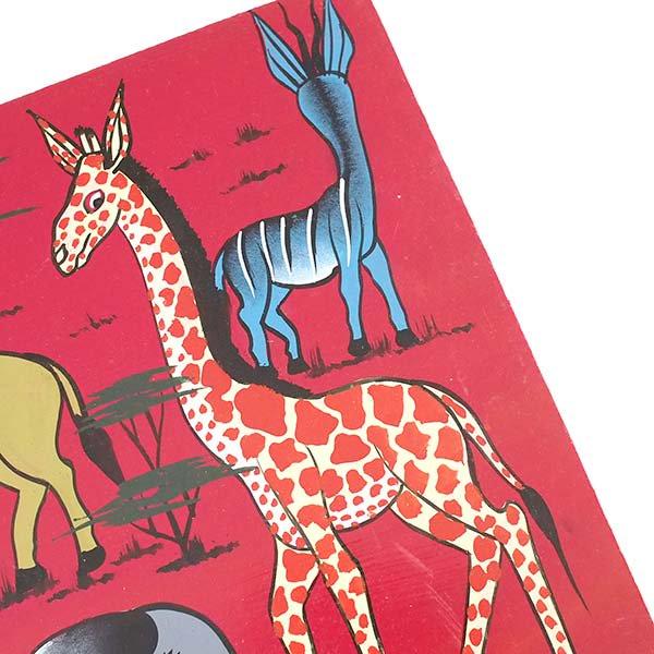 ティンガティンガ・アート 30×30(ゾウとキリン)【画像3】