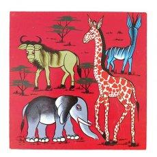 赤・レッド 雑貨 ティンガティンガ・アート 30×30(ゾウとキリン)