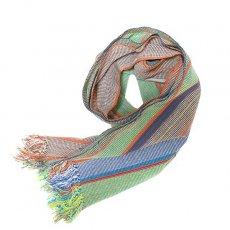 ファッション雑貨 ブルキナファソ 伝統布ショール(グリーン)