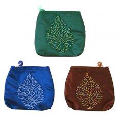 ベトナム 刺繍 ポーチ(葉っぱ ビーズ)