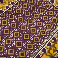 アフリカンプリント 布 アフリカ ケニア カンガ  プリント布  105×160 (ひし形 パープル 日本語訳不明)