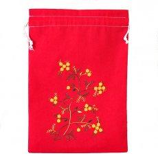 オーガンジー / コットン 巾着 ベトナム 花 刺繍 巾着(レッド)