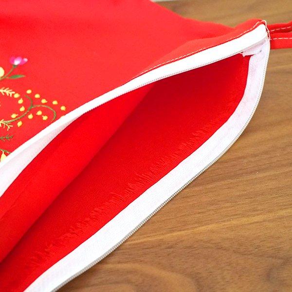 ベトナム 刺繍 ポーチ 大(花 ファスナー付き A)【画像6】
