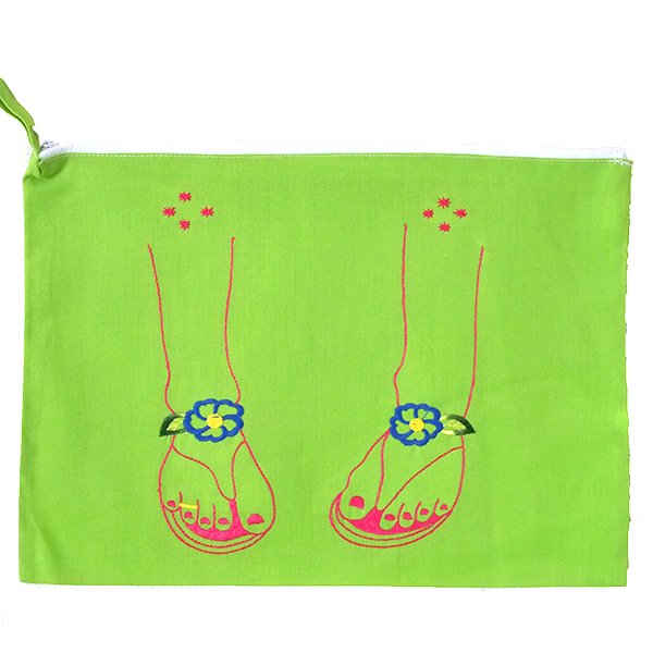 ベトナム 刺繍 ポーチ(サンダル ファスナー付き)【画像3】