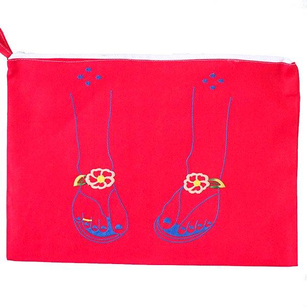 ベトナム 刺繍 ポーチ(サンダル ファスナー付き)【画像4】