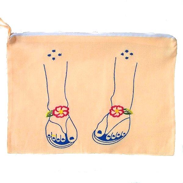 ベトナム 刺繍 ポーチ(サンダル ファスナー付き)【画像6】