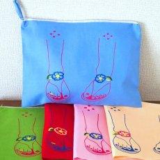 ベトナム 刺繍 ポーチ(サンダル ファスナー付き)