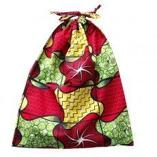 世界に繋がるお買い物 マリ パーニュの巾着(赤キミドリ)
