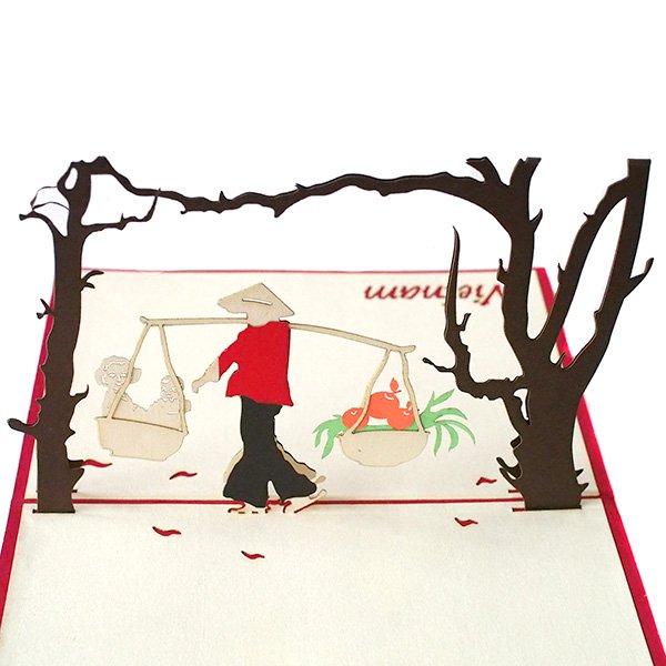 ベトナム 切り絵 ポップアップカード(果物と子供  15×10)【画像2】