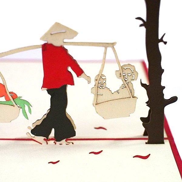 ベトナム 切り絵 ポップアップカード(果物と子供  15×10)【画像3】