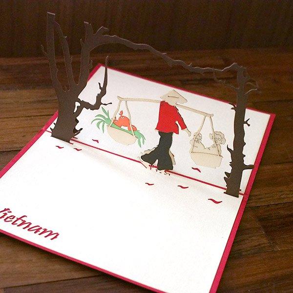 ベトナム 切り絵 ポップアップカード(果物と子供  15×10)【画像6】