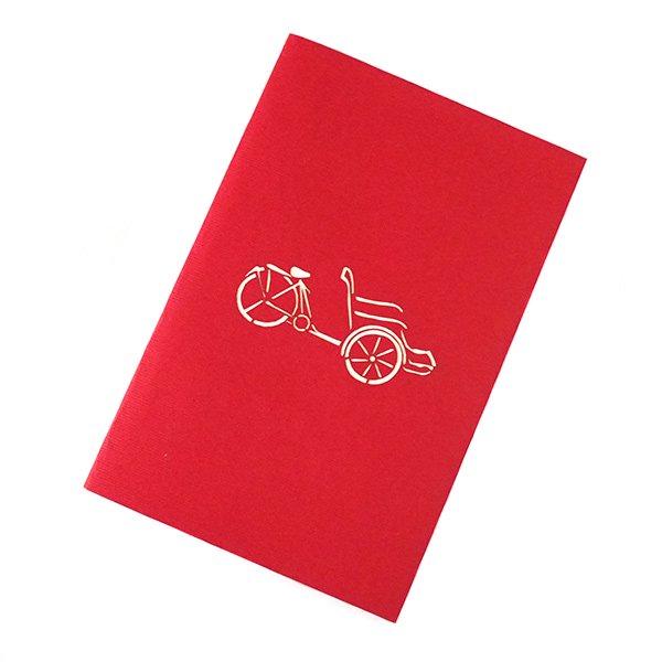 ベトナム 切り絵 ポップアップカード(シクロ 15×10)【画像4】