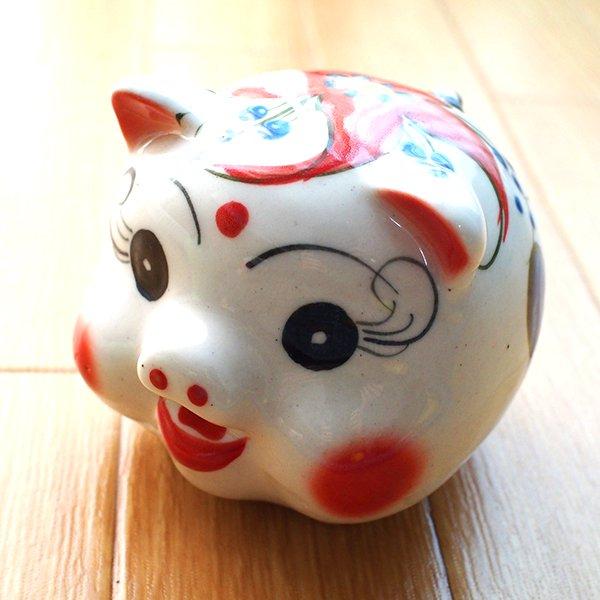 ベトナム バッチャン焼き ブタの貯金箱(3色)【画像3】