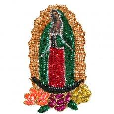 カーテン/のれん/一点もの メキシコ グアダルーペ マリアスパンコールワッペン Mサイズ(小花)