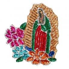 カーテン/のれん/一点もの メキシコ グアダルーペ マリアスパンコールワッペン Mサイズ(大花)