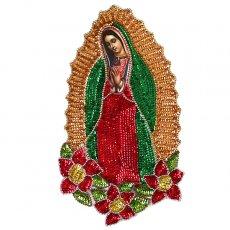 カーテン/のれん/一点もの 【送料無料】メキシコ グアダルーペ マリアスパンコールワッペンLサイズ(小花)