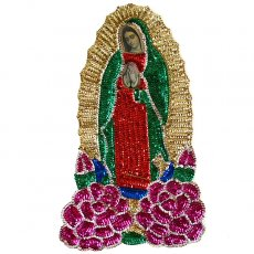 カーテン/のれん/一点もの メキシコ グアダルーペ マリアスパンコールワッペンLサイズ(大花)